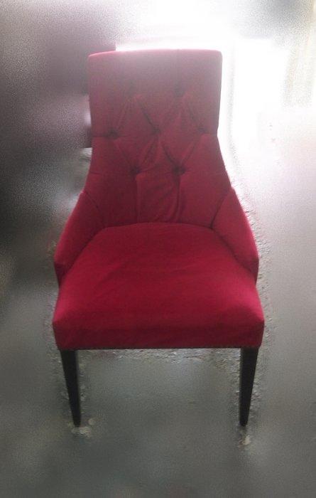 樂居二手家具 A0808HJJ 紅色絨布餐椅 洽談椅 書桌椅 電腦椅 會客椅 2手各式桌椅拍賣【全新中古家具家電賣場】