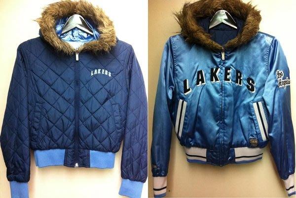 NBA LAKERS 湖人隊 兩面穿不撞衫特別款環保毛毛帽子亮藍和低調藍鋪棉夾克防風短外套(有細部圖)