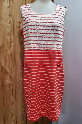 ILEY 伊蕾 橘紅色條紋拼接白色蕾絲背心式洋裝(L~XL) 桃園市