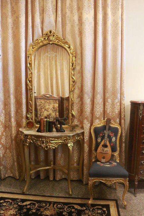 【家與收藏】特價極品稀有珍藏歐洲古董法國凡爾賽華麗巴洛克手工雕花大理石大玄關桌鏡2