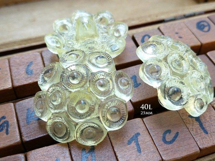 DAda緞帶‧I60282-25mm高品質透光淡黃色刻花香菇型鈕扣1個$15【意大利進口】