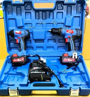 附發票*東北五金*正BOSS KIT04E 雙機組18V鋰電衝擊起子機+雙速震動電鑽 KIT-04E搭配4.0A電池*2