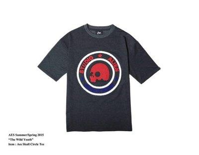 Aes Skull Circle Tee 骷髏 圈 立體 LOGO 短袖 T恤 地毯 毛巾 重磅 霧藍/ 紅/ 白 男【S】 台中市