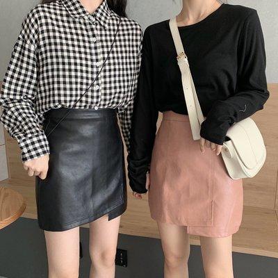 皮裙 不規則皮裙 短皮裙 窄裙 氣質顯瘦高腰a字包臀短裙女