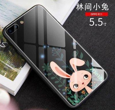 ZIHOPE OPPOR11手機殼女款R11PLUS玻璃R11S卡通可愛R11SPLUS全包防摔保護ZI812