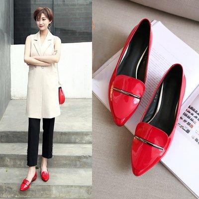 平底鞋女春季真皮淺口單鞋紅色小皮鞋平跟女鞋子黑色尖頭瓢鞋婚鞋