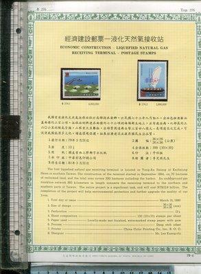 老藏樂 經濟建設郵票─液化天然氣接收站 (TOP 276) 全套2張 郵票面額共19元 1990