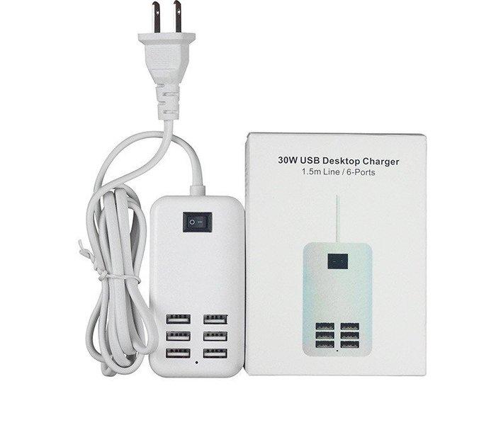 6孔USB排充延長線附開關 多孔插座充電器 多孔USB充電器 6孔USB插座