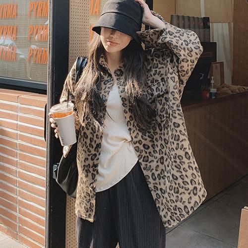 i-Mini 正韓|個性豹紋毛毛質感長版釘釦襯衫外套|‧ 韓國連線‧代購‧空運【B10276467HU】