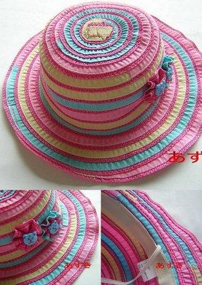 幼童束帶布帽-可愛糖果配色花朵款-淺桃色54cm下標區-紅豆商行
