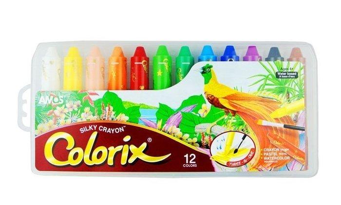 『粗款12色』【韓國AMOS 國際英文版】旋轉式蠟筆 筆筒含筆套 水溶性 多用途 粉彩 水彩 無毒 阿摩司 水蠟筆