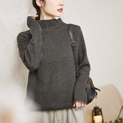   一品著衣   愜意自在秋新文藝百搭條紋顯瘦針織衫上衣柔軟舒適羊毛半高領毛衣