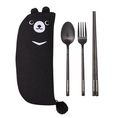 將將星正貨 嚴選㊣星巴克 酷黑熊隨行餐具組(筷+叉+湯匙+餐具袋) 不鏽鋼 生態共愛保育 台灣 Starbucks