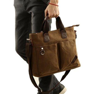 現貨/帆布包男包休閒單肩包側背包男士商務手提包公文包橫款電腦包/海淘吧F56LO 促銷價