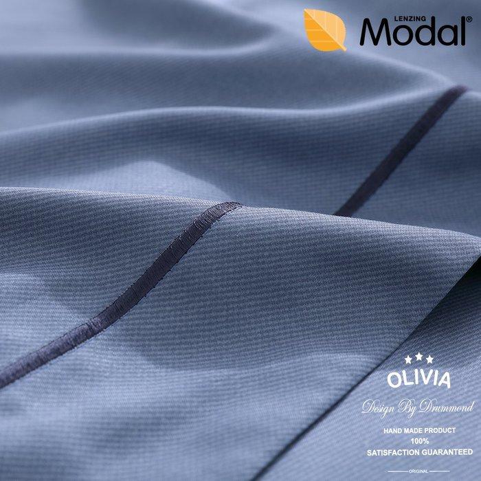【OLIVIA 】DR3005 藍   標準單人床包兩用被套三件組 刺繡設計  MOC莫代爾棉 台灣製