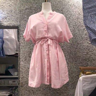 棉麻收腰襯衫裙lee011