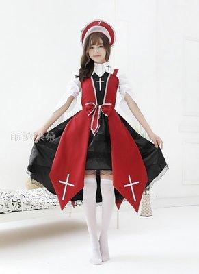 ♥萌妞朵朵♥十字女巫歌德式復古動漫裙(紅色)/成人公主裙衣服成人連衣裙/萬聖節/聖誕節/尾牙/派對