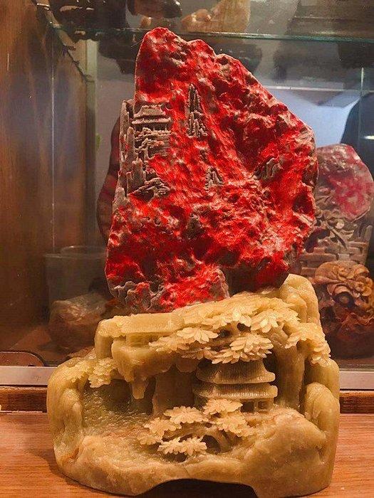 國寶級昌化頂級老坑青玉地 老坑洞紅洞出品 名貴大豔級血色大紅袍全血精品擺件『壯麗山河』精品重器! 百年好貨 巨大升值