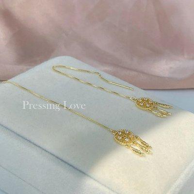 卡哇伊~Pressing Love耳環女925純銀針耳線中長款仙女氣質帶鉆耳飾