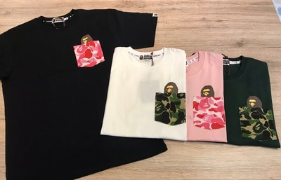 【MASS】A BATHING APE BAPE ABC POCKET TEE 粉紅/綠/黑/白 S-XL