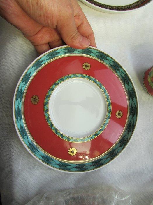 義大利名牌【VERSACE】凡賽斯 雙耳杯盤 4杯+4盤+奶精杯 五件組 歡迎面交