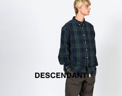 20SS DESCENDANT HYANNIS B.D LS SHIRT FULL SIZE 格紋長袖襯衫 深藍綠色