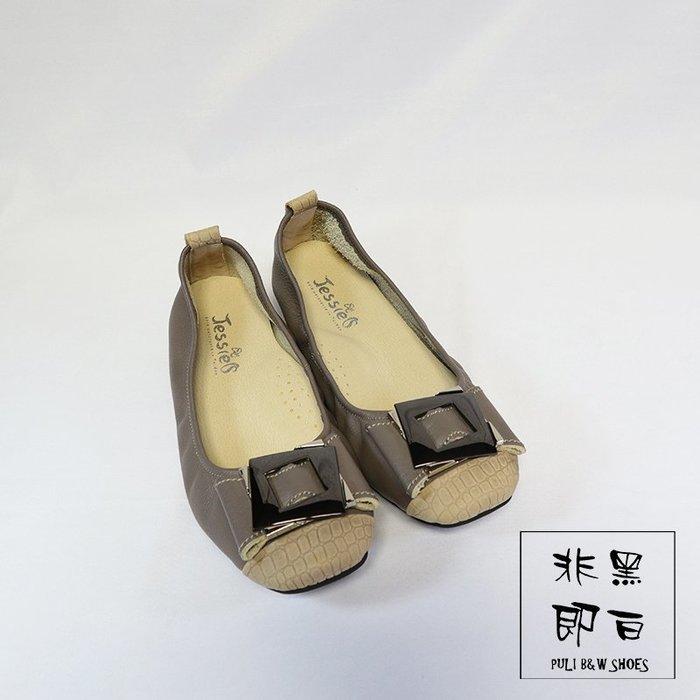【非黑即白】#零碼#MIT舒適真皮柔軟方框金屬女娃娃鞋 平底鞋 低跟鞋 灰色310188