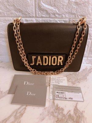 (已售)Dior 迪奧 J'ADIOR 字母黑色金鍊翻蓋包 鏈條包 肩背/斜背/手拿三用包 黑色