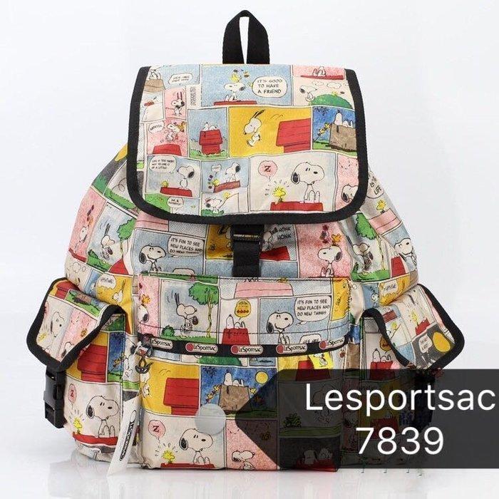 美國 Lesportsac x Snoopy史努比限定款雙肩降落傘防水後背包 7839 漫畫格