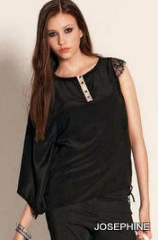 喬瑟芬【LIU JO】夏季出清特價$7250~2012春夏 黑色  不對稱設計 人造絲&蕾絲滾邊 上衣(38~42號)