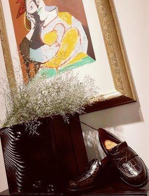 [ RainDaniel ] SANDRO 法國輕奢品牌 深咖皮革 鱷魚紋 英倫風樂福鞋