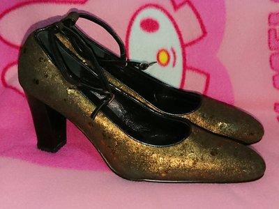 甜甜妞妞小舖☆品牌 ANNALISA 金黑色真皮女鞋手工上班鞋--圓頭高跟包鞋--尺寸有38-38.5號