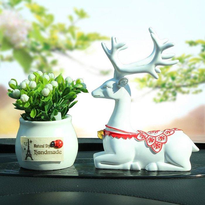 奇奇店-一路平安祈福鹿汽車擺件個性創意歐式高檔汽車用品車內裝飾品香薰