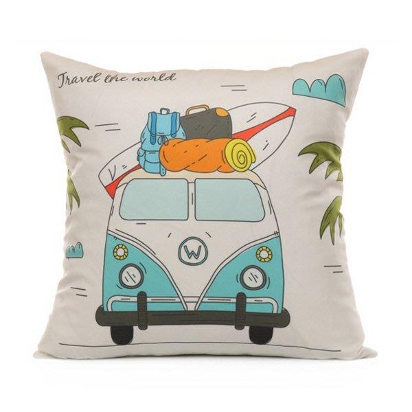 巴士世界旅行系列短毛絨抱枕腰枕套 枕頭套【JI2372】《Jami Honey》