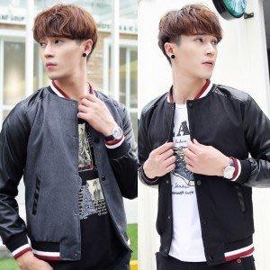 yes99buy加盟-衫 2014秋裝新品 韓味男式呢料修身個性撞色時尚外套 休閒棒球衫