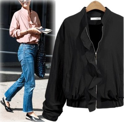 GOGO SHOP☆╭歐美 新款 短款收腰荷葉邊拉鏈薄外套【Y1845】S~XL女外套 薄款短外套 襯衫