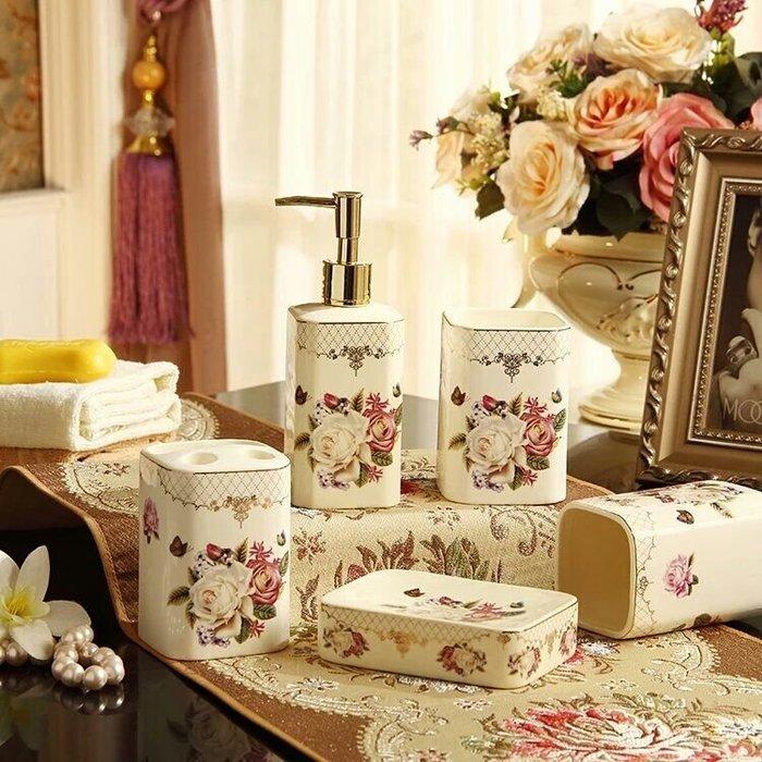 粉紅玫瑰精品屋~歐式玫瑰陶瓷衛浴五件套裝新婚禮品~