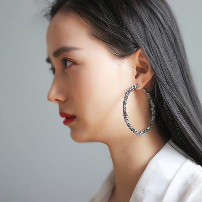 Lissom韓國代購~e 家懶人新款網紅氣質高級感水鉆O型耳圈耳環歐美個性夸張耳飾女