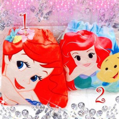 迪士尼 絨布 印花 束口袋 絨布抽繩束口袋 公主系列 小美人魚 愛麗兒 小比目魚 Flounder