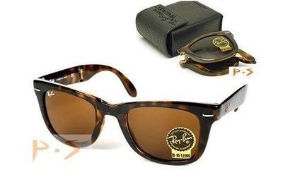 [P S] 全新正品 RayBan 太陽眼鏡 RB4105 710 玳瑁色 rb2140折疊款-比2140更適合亞洲人