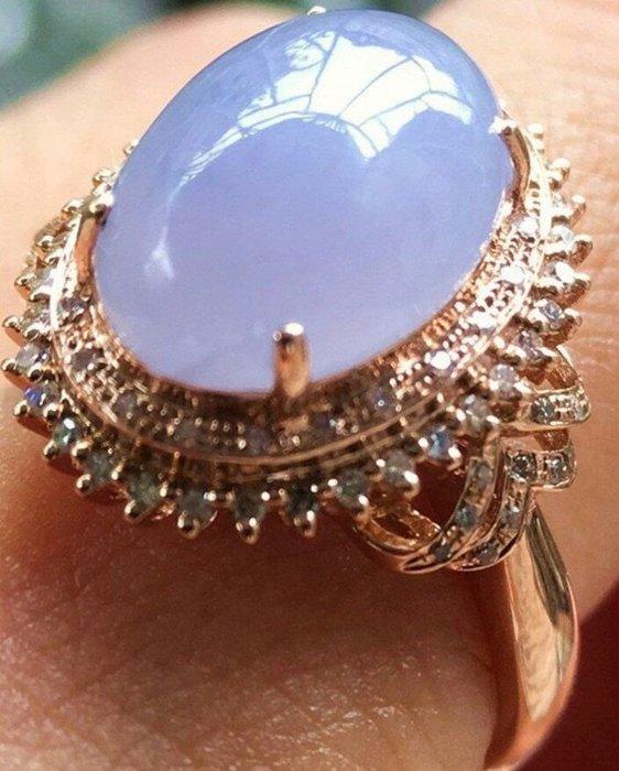 珍奇翡翠珠寶首飾-緬甸玉A貨~真金真鑽戒台,天然緬甸玉A貨-稀有高冰種紫羅蘭翡翠戒指。(戒圍11)附證書