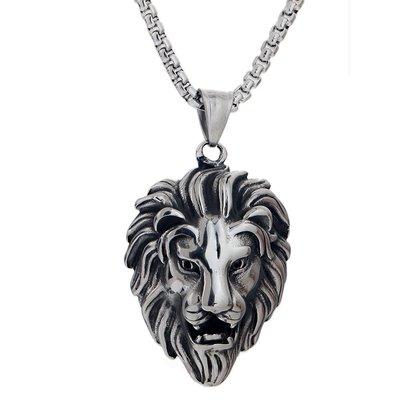 項鏈 吊墜復古項鏈獅王吊墜男士時尚霸氣潮鈦鋼項鏈義烏小飾品