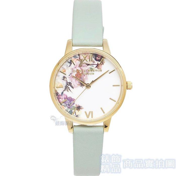 OLIVIA BURTON 手錶 OB16EG112 魔法花園 灰綠色鼠尾草皮帶 女錶30mm【錶飾精品】