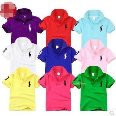 男童女童短袖T恤夏季兒童POLO衫大馬標小馬標親子 純棉幼兒園園服小學生表演服