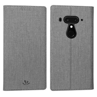 HTC U12 Plus U12+/ U12 life  皮革插卡手機套 內軟殼 可支架 手機殼 保護套 灰色