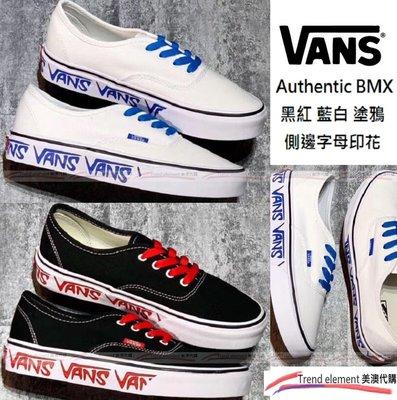 Vans Authentic BMX Aut 黑 紅 白 藍 側邊 字母 印花 特殊 塗鴉 板鞋 情侶 ~美澳代購~