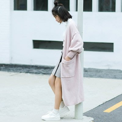 風衣 外套 長款大衣-粉色燈籠袖寬鬆氣質女外套73ue18[獨家進口][米蘭精品]