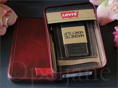 美國真品 Levis Clip 復古真皮磁性錢夾 紙鈔夾 鈔票夾 悠遊卡車票夾 5個卡片夾層 鐵禮盒裝 愛Coach包包