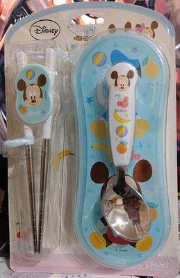 [檬檬Store]  迪士尼不銹鋼筷子套裝  304不鏽鋼湯匙+筷子組 米奇 米妮 學習餐具 兒童餐具 ~
