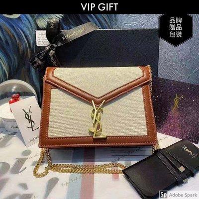 【美妝贈品刻字】vip gift 美櫃妝高級贈禮贈品Cassandry系列封信包 布拼牛皮 側背包 鏈條包